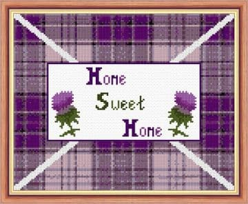 "Home Sweet Home - Scottish Thistle & Tartan - 14 Count Cross Stitch Design - 10"" x 8"""
